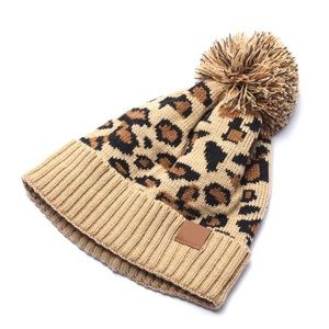 Knitted Leopard Beanie